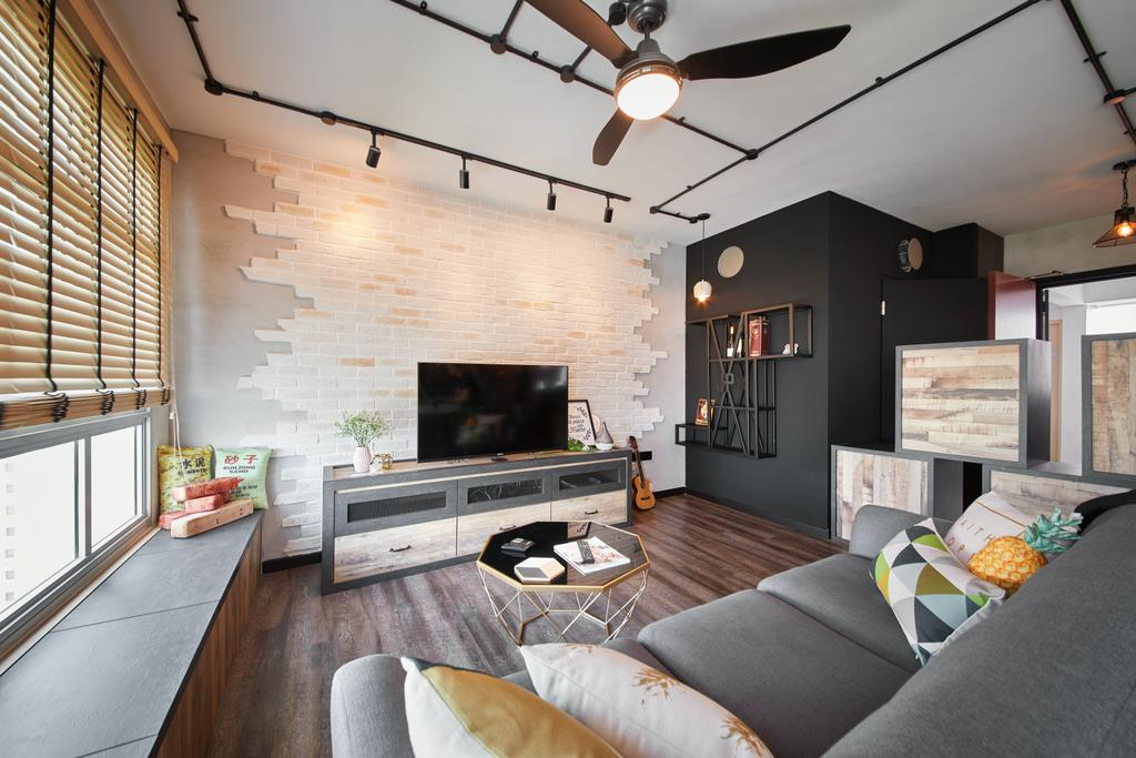 Industrial, HDB, Living Room, Tampines, Interior Designer, The Local INN.terior 新家室, Couch, Furniture