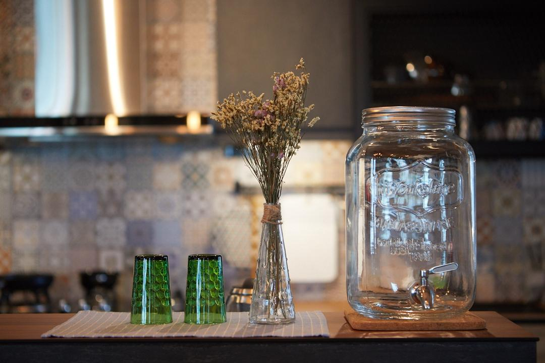 Tampines, The Local INN.terior 新家室, Industrial, Kitchen, HDB, Jar, Hourglass, Glass, Art, Blossom, Flora, Flower, Flower Arrangement, Ikebana, Ornament, Plant, Pottery, Vase