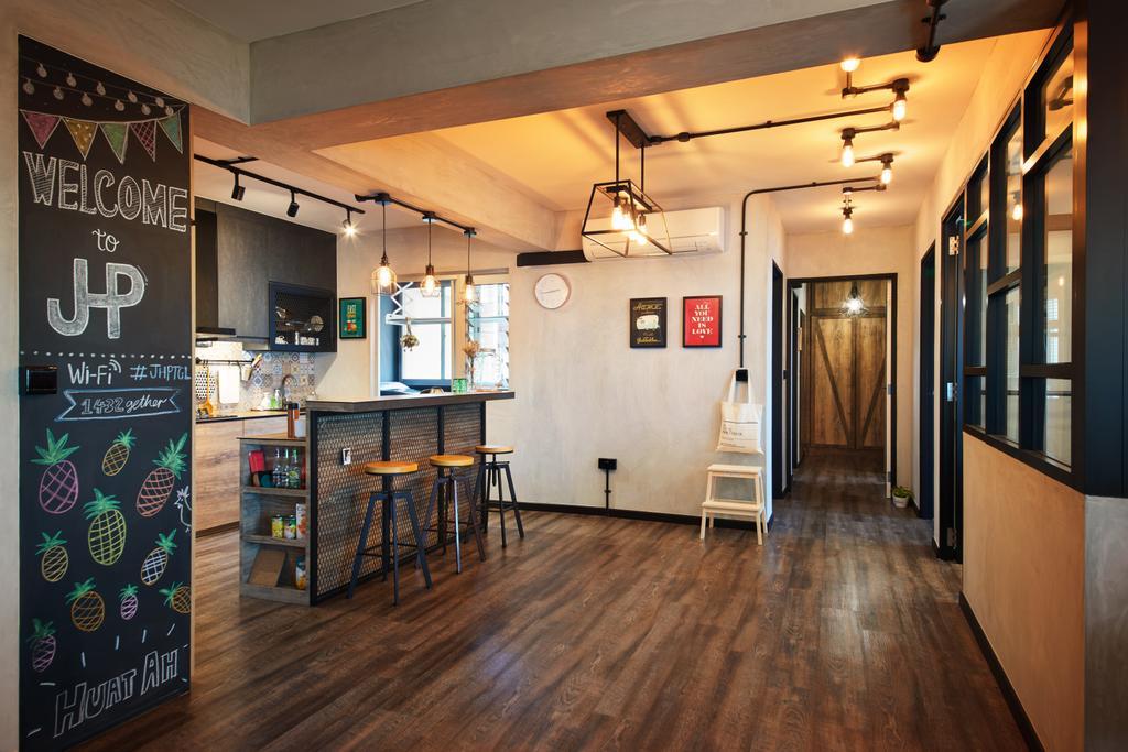 Industrial, HDB, Living Room, Tampines, Interior Designer, The Local INN.terior 新家室, Corridor