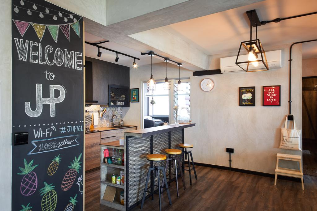 Industrial, HDB, Dining Room, Tampines, Interior Designer, The Local INN.terior 新家室, Chair, Furniture, Blackboard, Lamp