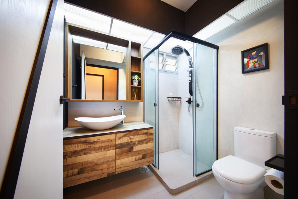 Industrial, HDB, Bathroom, Tampines, Interior Designer, The Local INN.terior 新家室, Toilet, Indoors, Interior Design, Room