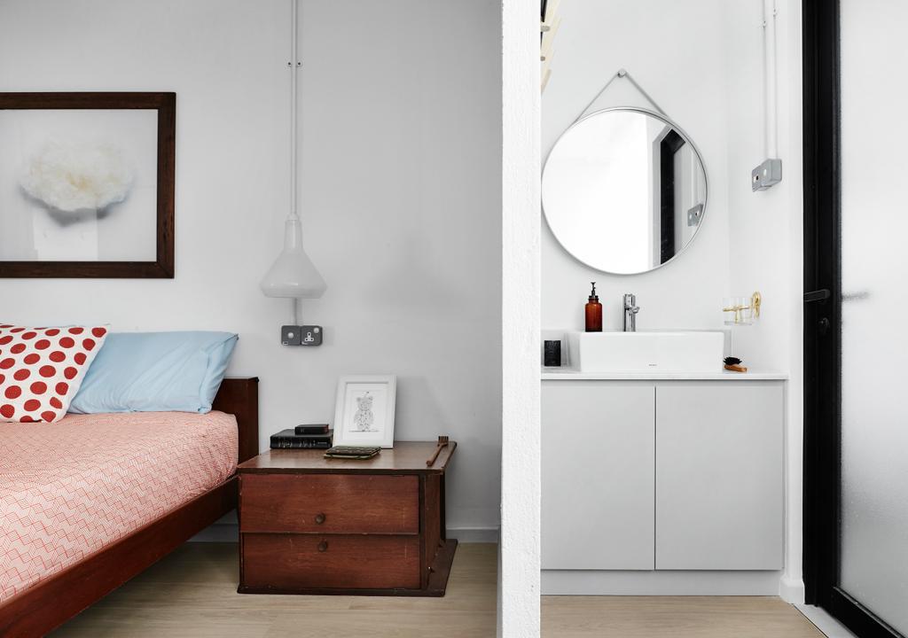 Transitional, HDB, Bedroom, Ubi Avenue, Interior Designer, Third Avenue Studio, Bathroom, Indoors, Interior Design, Room, Furniture, Sideboard, Trunk