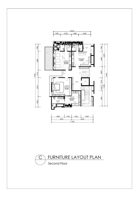 Contemporary, Landed, Gan One Legenda Residence, Interior Designer, Turn Design Interior, Diagram, Plan