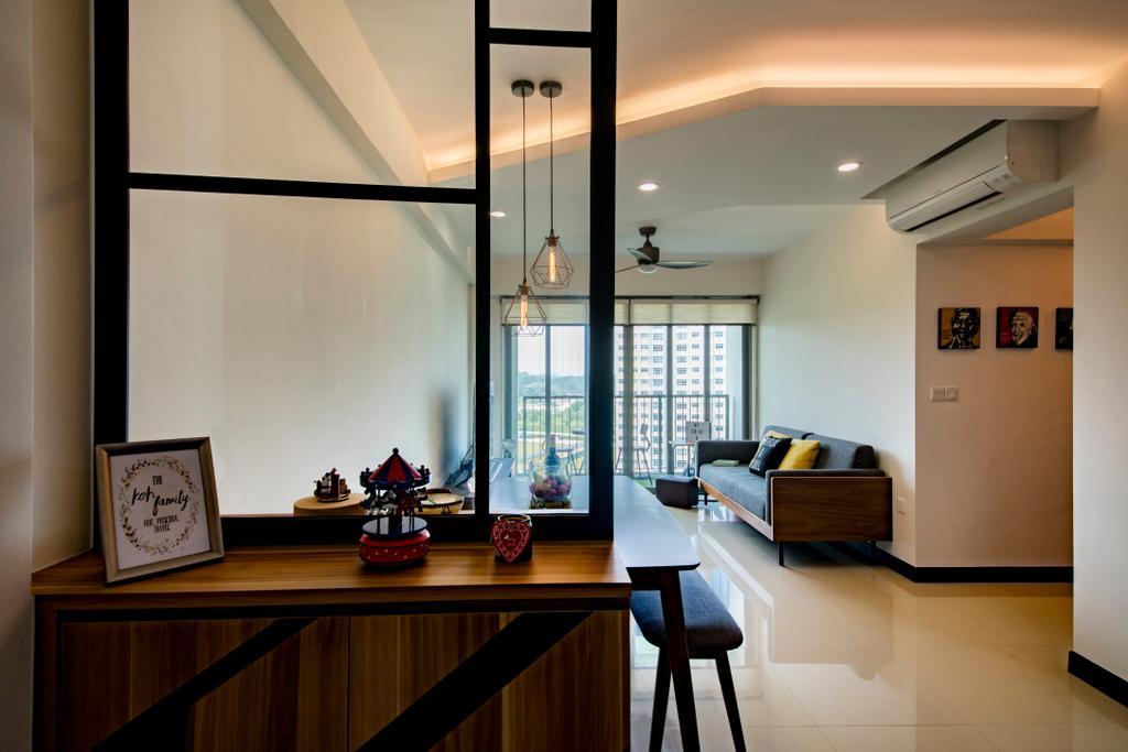Scandinavian, HDB, Living Room, Waterway Brooks (Block 677D), Interior Designer, M3 Studio, Industrial, Chair, Furniture, Building, Housing, Indoors, Loft, Interior Design