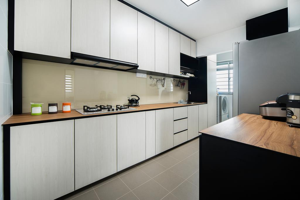 Modern, HDB, Kitchen, Jalan Tenteram (Block 117A), Interior Designer, Cozy Ideas Interior Design, Furniture, Sideboard, Shelf, Indoors, Interior Design, Room, Bedroom, Flooring