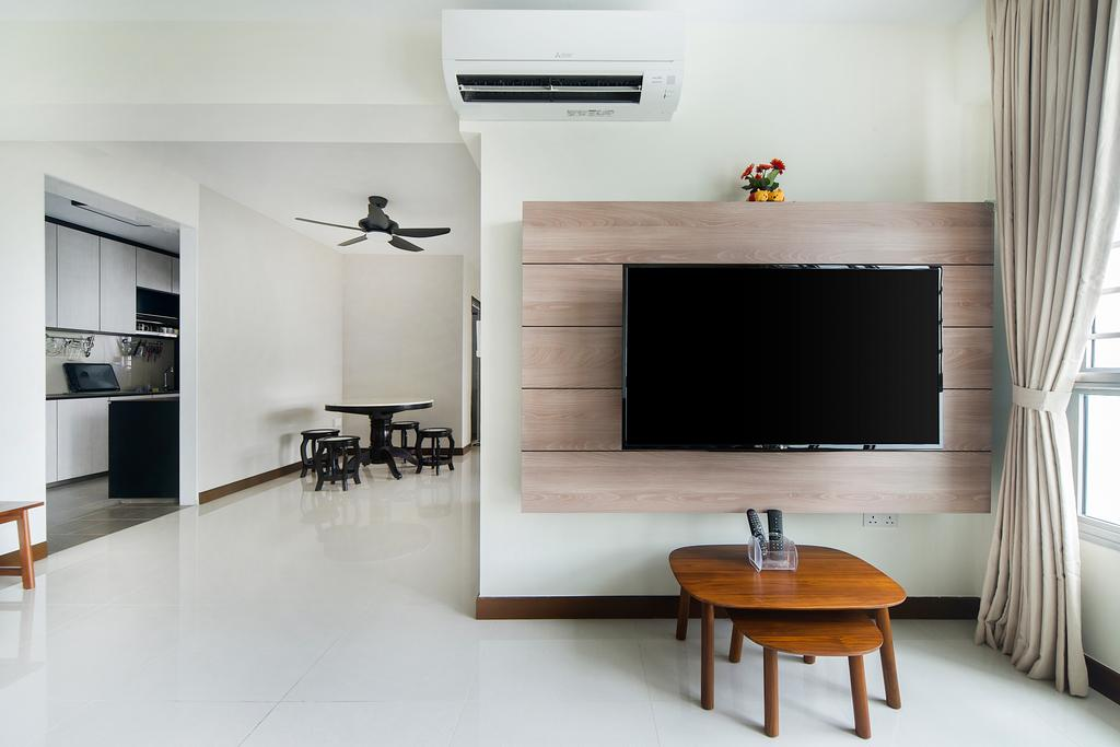 Modern, HDB, Jalan Tenteram (Block 117A), Interior Designer, Cozy Ideas Interior Design, Dining Table, Furniture, Table, Indoors, Interior Design, Chair, Electronics, Lcd Screen, Monitor, Screen, Coffee Table, Appliance, Electrical Device, Oven