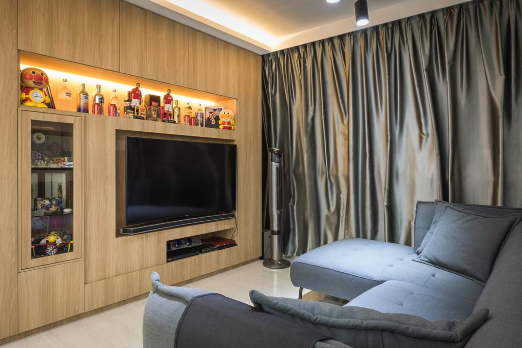 Scandinavian, HDB, Living Room, Clementi Avenue 4 (Block 312C), Interior Designer, IdeasXchange, Traditional, Couch, Furniture, Electronics, Entertainment Center, Bed, Home Theater