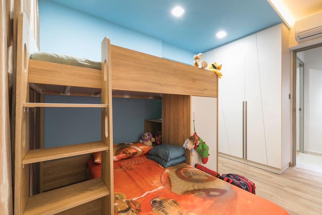 Scandinavian, HDB, Bedroom, Clementi Avenue 4 (Block 312C), Interior Designer, IdeasXchange, Traditional, Shelf, Bed, Bunk Bed, Furniture