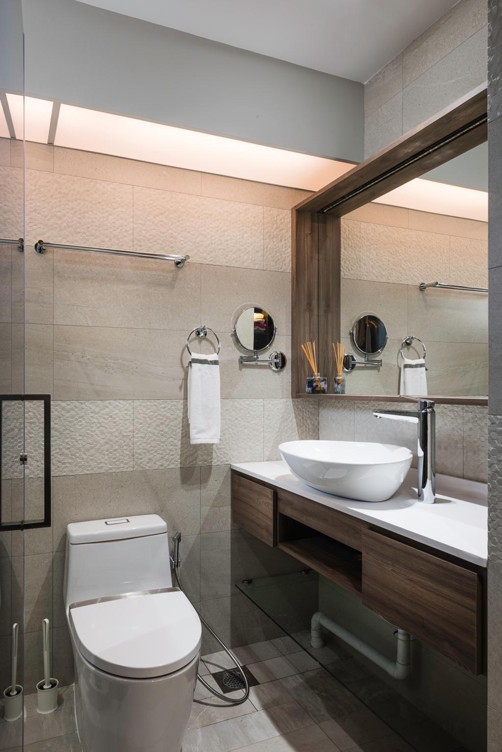 Modern, HDB, Bathroom, Fernvale Road (Block 410C), Interior Designer, IdeasXchange, Contemporary, Indoors, Interior Design, Room, Toilet