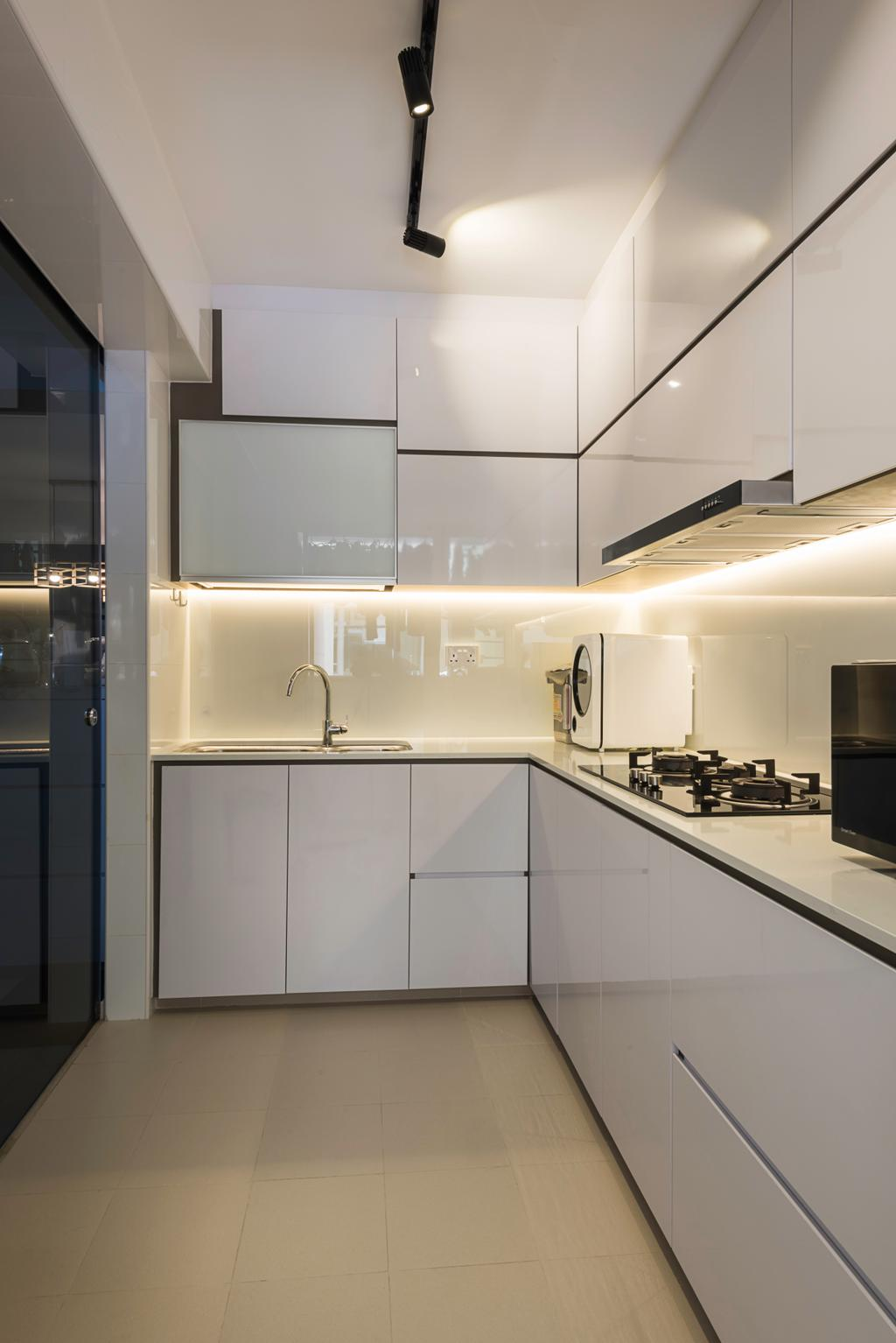 Modern, HDB, Kitchen, Sumang Walk (Block 217C), Interior Designer, IdeasXchange, Appliance, Electrical Device, Fridge, Refrigerator, Indoors, Interior Design