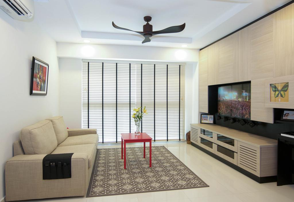 Minimalistic, HDB, Living Room, The Pinnacle@Duxton, Interior Designer, Seven Heaven, Indoors, Interior Design, Couch, Furniture, Blade, Dagger, Knife, Weapon, Dining Table, Table