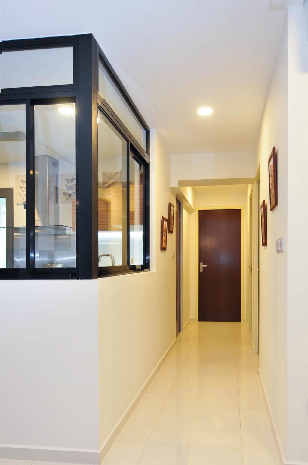 Minimalistic, HDB, Living Room, The Pinnacle@Duxton, Interior Designer, Seven Heaven, Door, Folding Door, Corridor