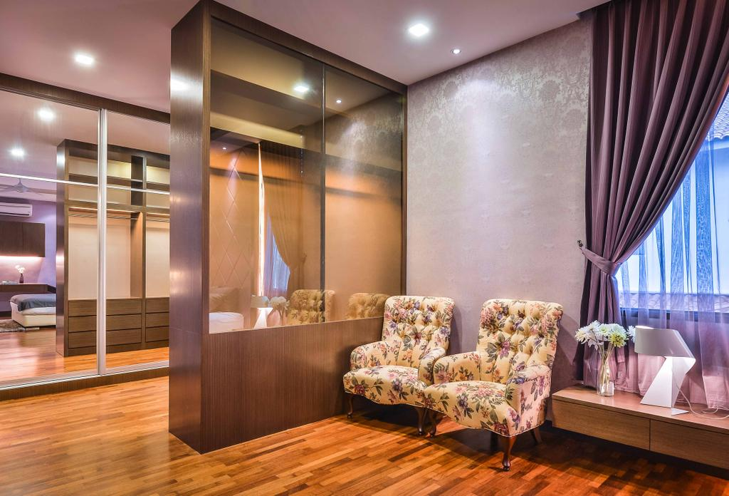 Modern, Landed, Bedroom, Setia Eco Park, Interior Designer, Surface R Sdn. Bhd., Couch, Furniture, Indoors, Interior Design, Curtain, Home Decor