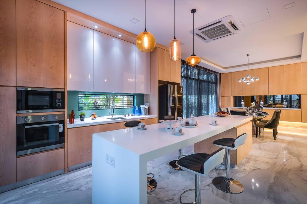 Modern, Landed, Kitchen, Setia Eco Park, Interior Designer, Surface R Sdn. Bhd., Indoors, Interior Design, Room, Appliance, Electrical Device, Oven, Dining Table, Furniture, Table, Chair