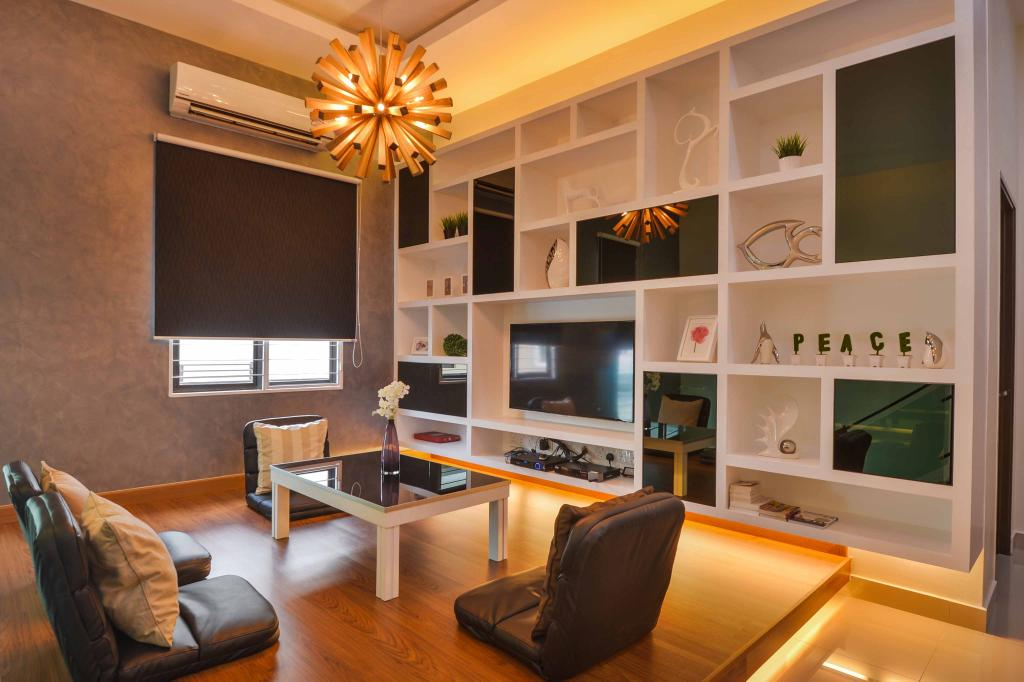 Modern, Landed, Living Room, Aman Perdana, Interior Designer, Surface R Sdn. Bhd., Electronics, Entertainment Center, Couch, Furniture, Chair, Indoors, Room