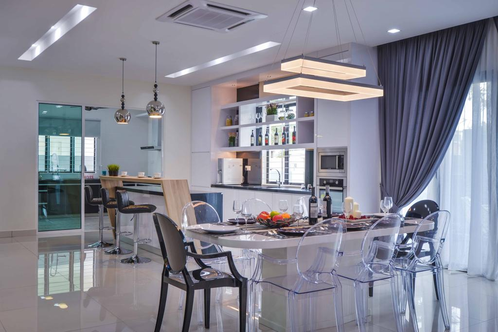 Modern, Landed, Dining Room, Aman Perdana, Interior Designer, Surface R Sdn. Bhd., Chair, Furniture, Indoors, Interior Design, Room, Glass, Dining Table, Table
