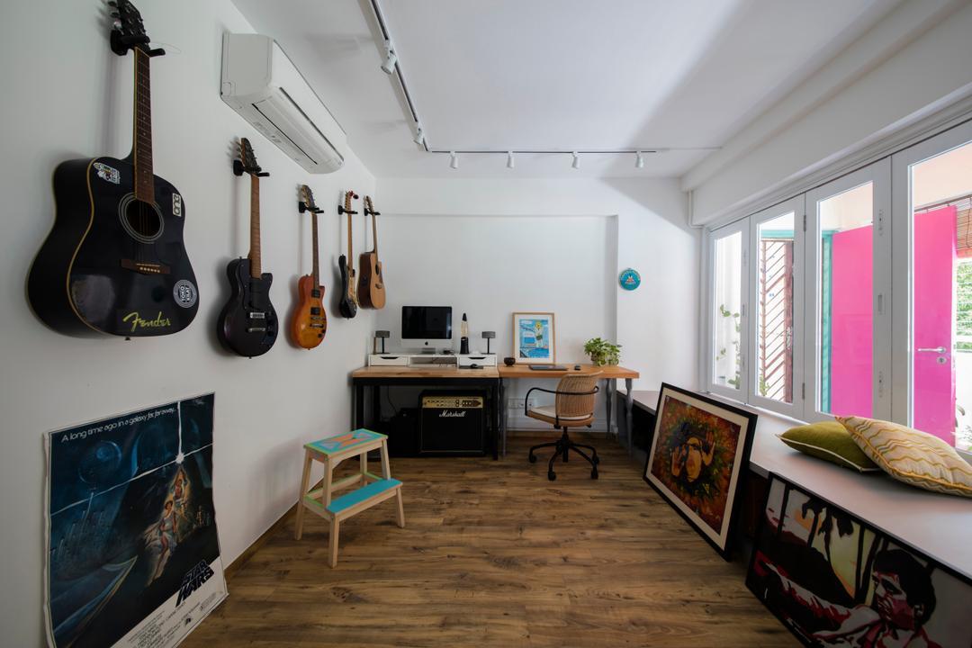 Pasir Ris Street 21, Free Space Intent, Eclectic, Study, HDB, Guitar, Leisure Activities, Music, Musical Instrument, Electric Guitar, Desk, Furniture, Table, Bar Stool