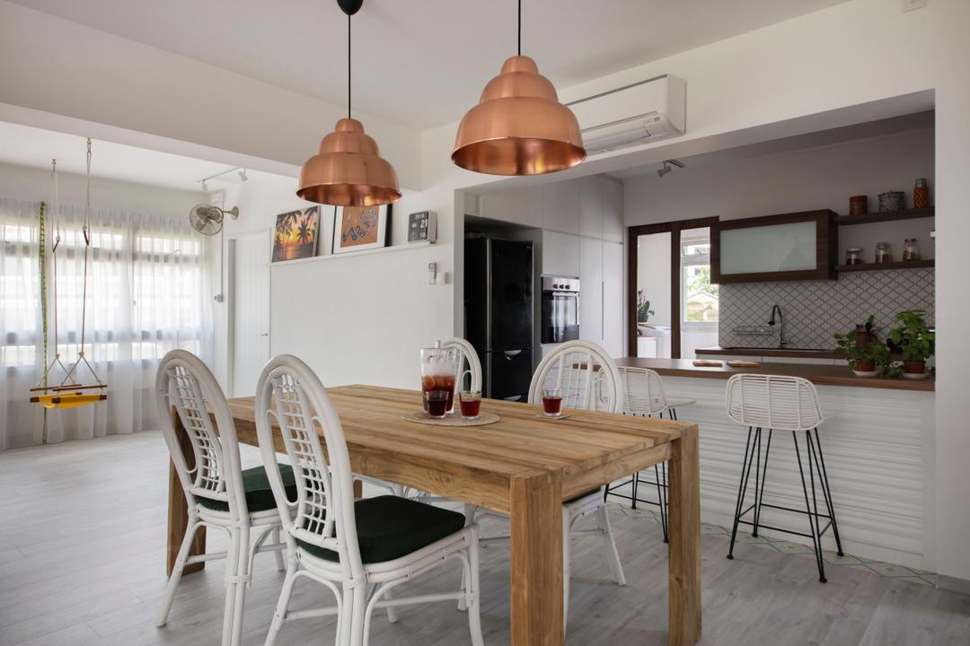 Pasir Ris Street 21, Free Space Intent, Eclectic, Dining Room, HDB, Resort, Rustic, Beach Resort, Chair, Furniture, Indoors, Interior Design, Room, Bar Stool, Light Fixture, Dining Table, Table, Lamp, Lampshade