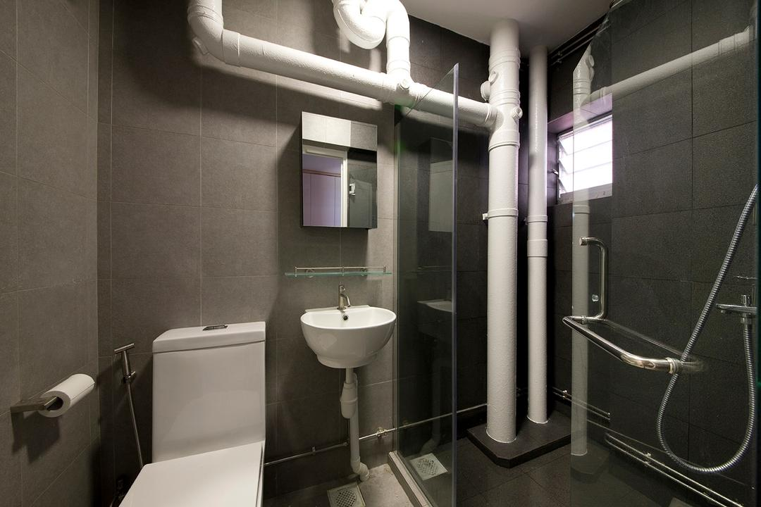 Sin Ming, Voila, Traditional, Bathroom, HDB, Pipe, Toilet Piping, Shower Screen, Glass Screen, Glass Partition, Shower Partition, Shower, Vanity Cabinet, Mirror, Cupboard, Storage, Toilet Bowl, Bidet, Sink, Water Closet, Indoors, Interior Design, Room, Toilet