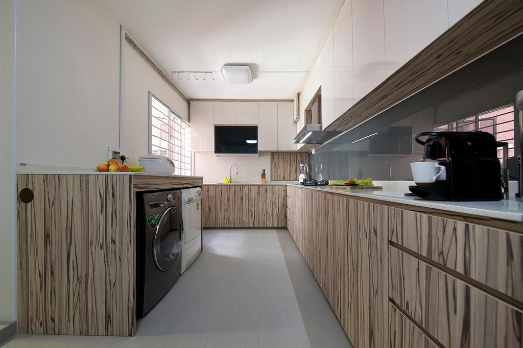 Traditional, HDB, Kitchen, Sin Ming, Interior Designer, Voila, Countertop, Kitchen Counter, Cabinet, Laminate, Tiles, Bright, L Shaped, Backsplash, Sink, Kitchen Island, Appliance, Electrical Device, Washer