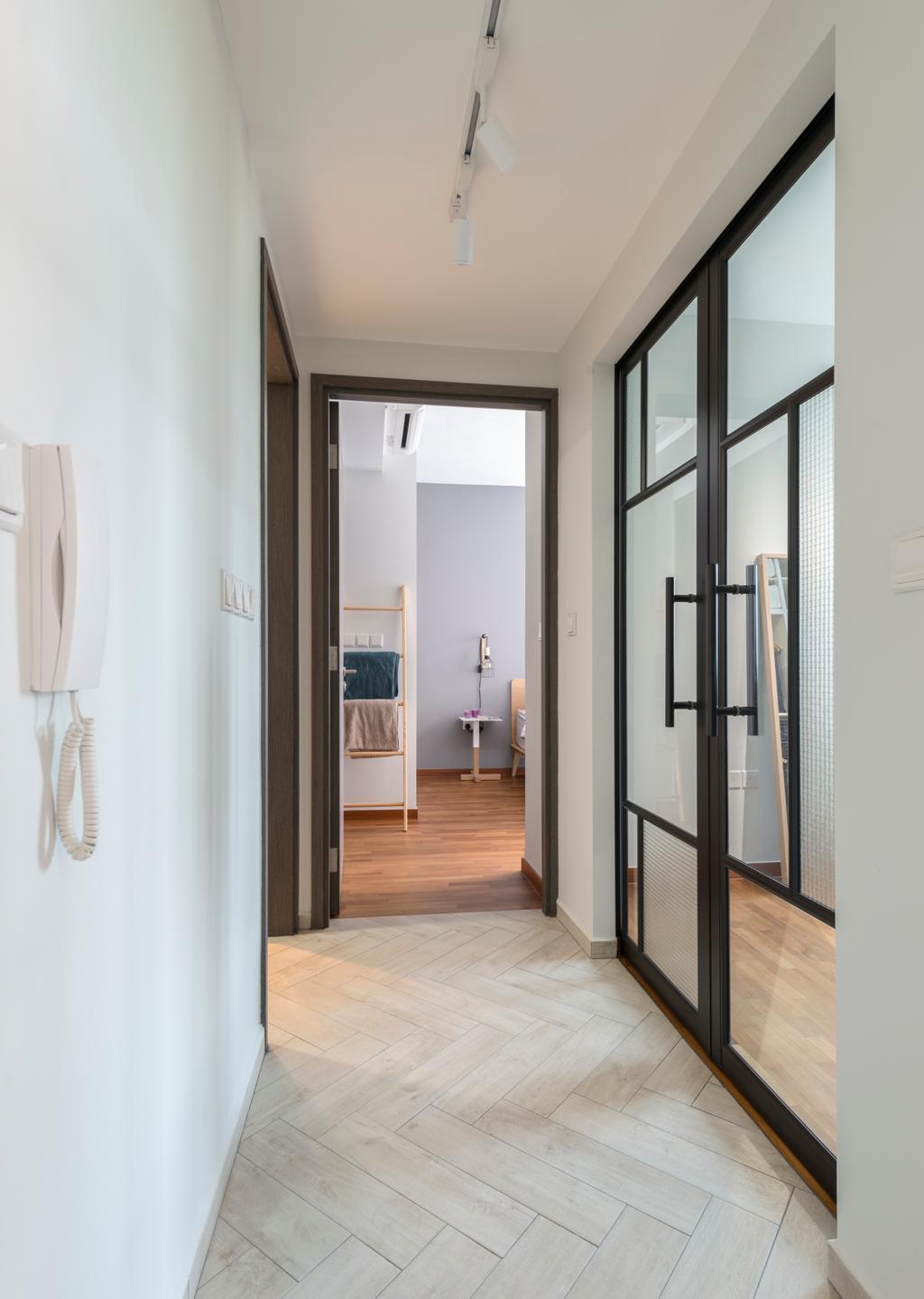 Scandinavian, Condo, Q Bay Residences, Interior Designer, Meter Square, Corridor, Hallway, Door, Sliding Door, Folding Door