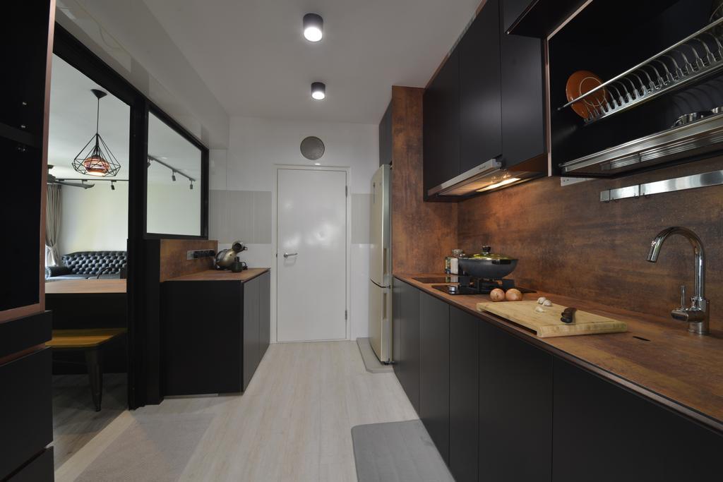 Industrial, HDB, Kitchen, Compassvale Drive (Block 217A), Interior Designer, Butler Interior, Tap, Indoors, Interior Design, Room