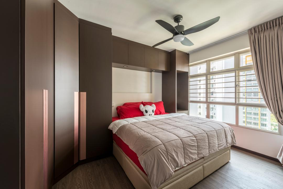 Compassvale Drive (Block 217A), Butler Interior, Industrial, Bedroom, HDB, Awkward Corner, Corner, Copper, Metallic Accents, Metallic, Metal, Copper Accent, Indoors, Interior Design, Room, Bed, Furniture