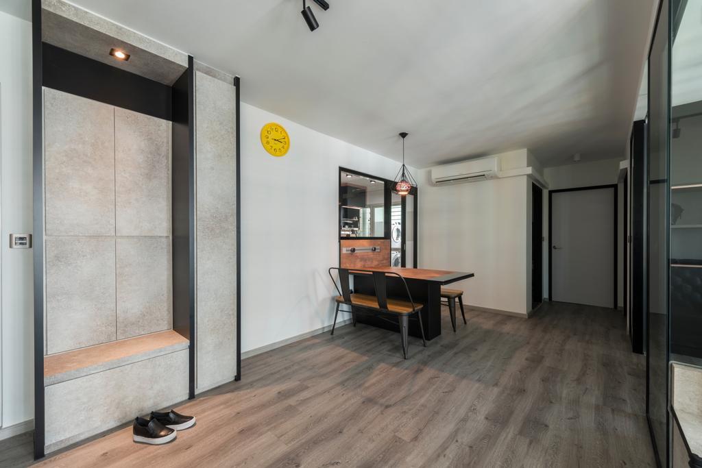 Industrial, HDB, Dining Room, Compassvale Drive (Block 217A), Interior Designer, Butler Interior, Flooring, Door, Sliding Door, Dining Table, Furniture, Table