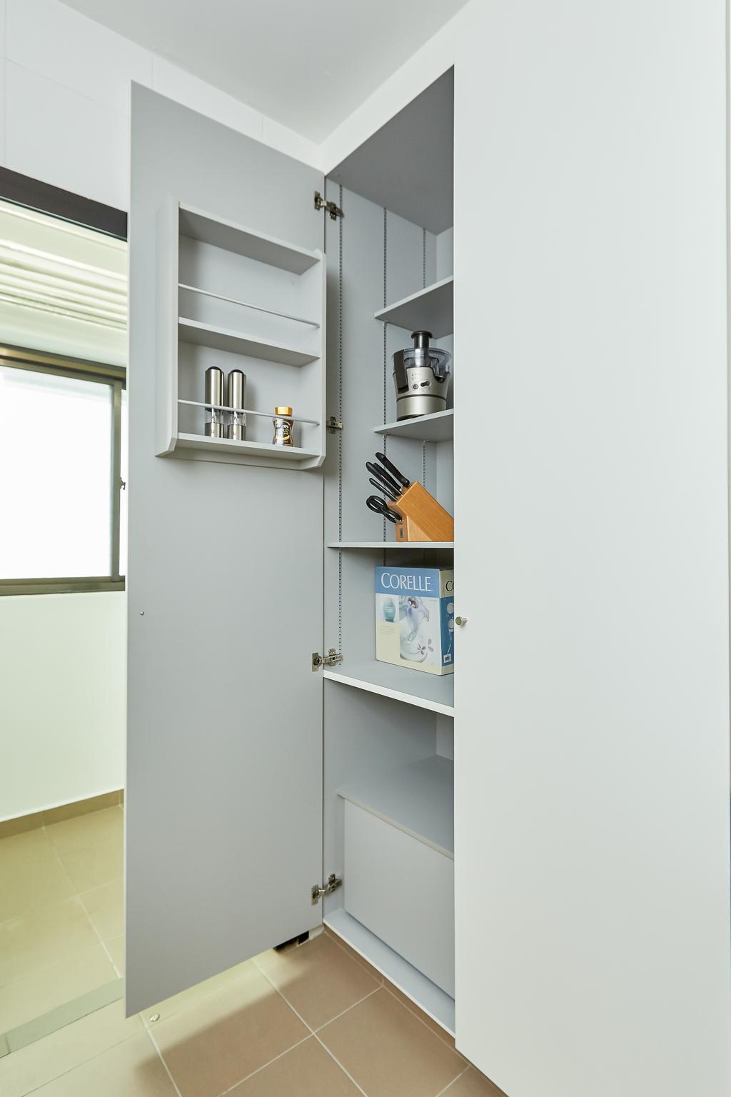 Minimalistic, HDB, Kitchen, Senja, Interior Designer, Space Atelier, Pantry Cabinet, Kitchen Storage, Kitchen Pantry
