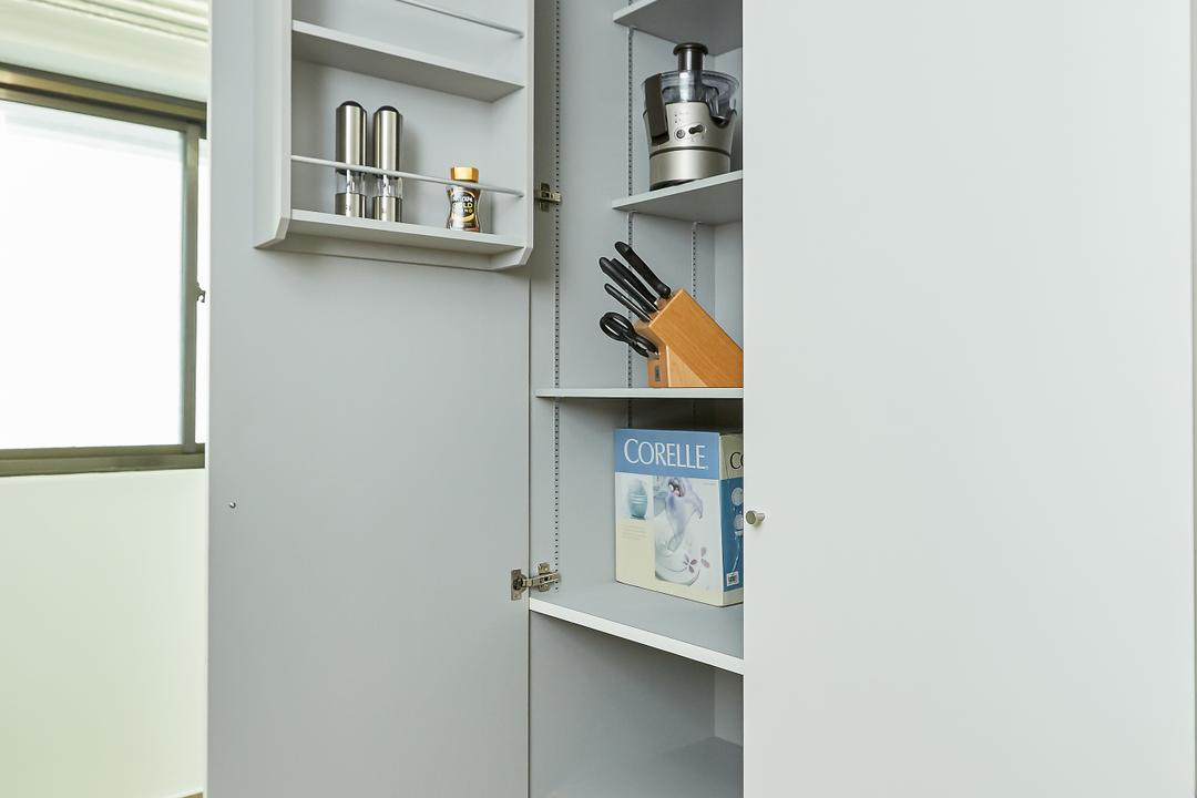 Senja, Space Atelier, Minimalistic, Kitchen, HDB, Pantry Cabinet, Kitchen Storage, Kitchen Pantry