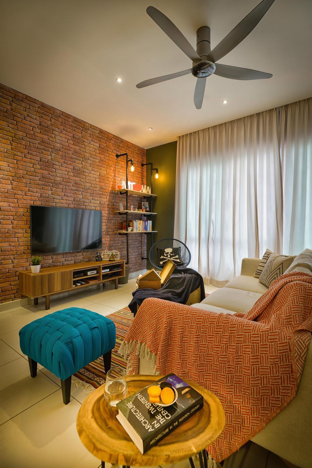 Contemporary, Condo, Living Room, Glomac Damansara, Interior Designer, Dot Works, Couch, Furniture, Brick, Indoors, Room