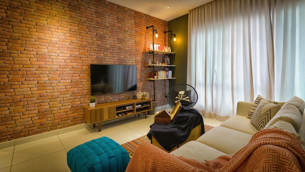 Contemporary, Condo, Living Room, Glomac Damansara, Interior Designer, Dot Works, Couch, Furniture, Indoors, Room, Brick