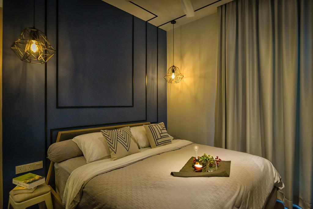 Contemporary, Condo, Bedroom, Glomac Damansara, Interior Designer, Dot Works, Caged Lamps, Pendant Lights, Bedside Lamps, Indoors, Interior Design, Room