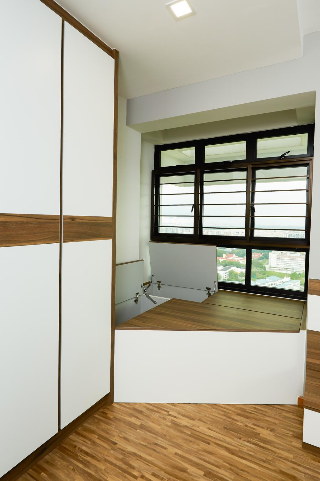 Minimalistic, HDB, Bedroom, Senja, Interior Designer, Space Atelier, Platform, Hidden Storage