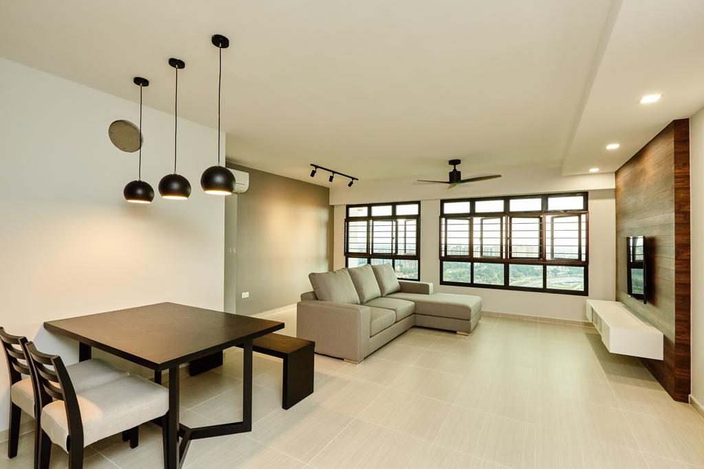 Minimalistic, HDB, Living Room, Senja, Interior Designer, Space Atelier, Pendant Lamp, Tiles, False Ceiling, Spotlights, Dining Table, Feature Wall, Tv Console, Bright, Airy, Expansive, Spacious, Open Layout, White And Brown, Neutral Theme, Simple, Fuss Free, Sofa, Track Lights, Ceiling Fan