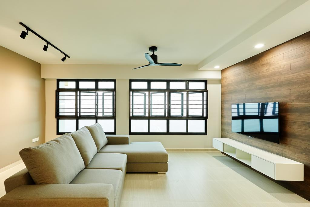Minimalistic, HDB, Living Room, Senja, Interior Designer, Space Atelier, Ceiling Fan, Cream Walls, Cream Palette, Neutrals, Tv Feature Wall, Tv Console, Simple, Fuss Free, Sofa, Track Lights, Windows, Spacious, Open Concept, Uncluttered, Recessed Lighting