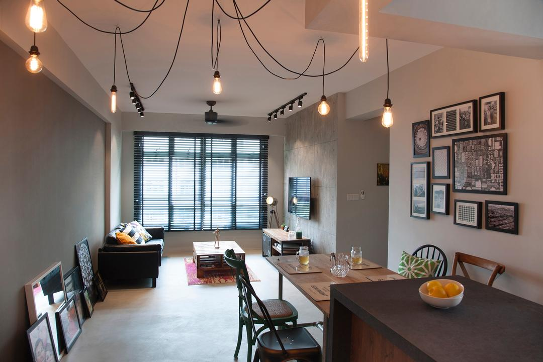 Edgefield Plains, Aart Boxx Interior, Industrial, Living Room, HDB, Hanging Bulbse, Exposed Bulbs, Cables, Track Light, Dining Table, Wall Art, Art Frame, Dining Room, Indoors, Interior Design, Room, Couch, Furniture, Table, Building, Housing, Loft