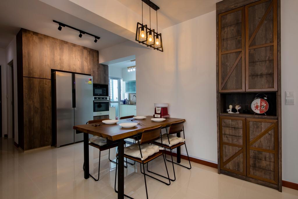 Industrial, HDB, Dining Room, Yishun Street 51, Interior Designer, Butler Interior, Indoors, Interior Design, Room, Desk, Furniture, Table, Building, Housing, Loft, Chair