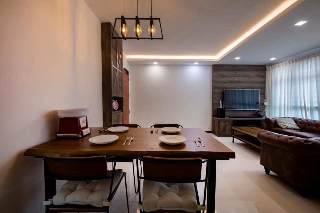 Industrial, HDB, Dining Room, Yishun Street 51, Interior Designer, Butler Interior, Chair, Furniture, Dining Table, Table, Indoors, Room, Bowl, Couch, Interior Design, Restaurant