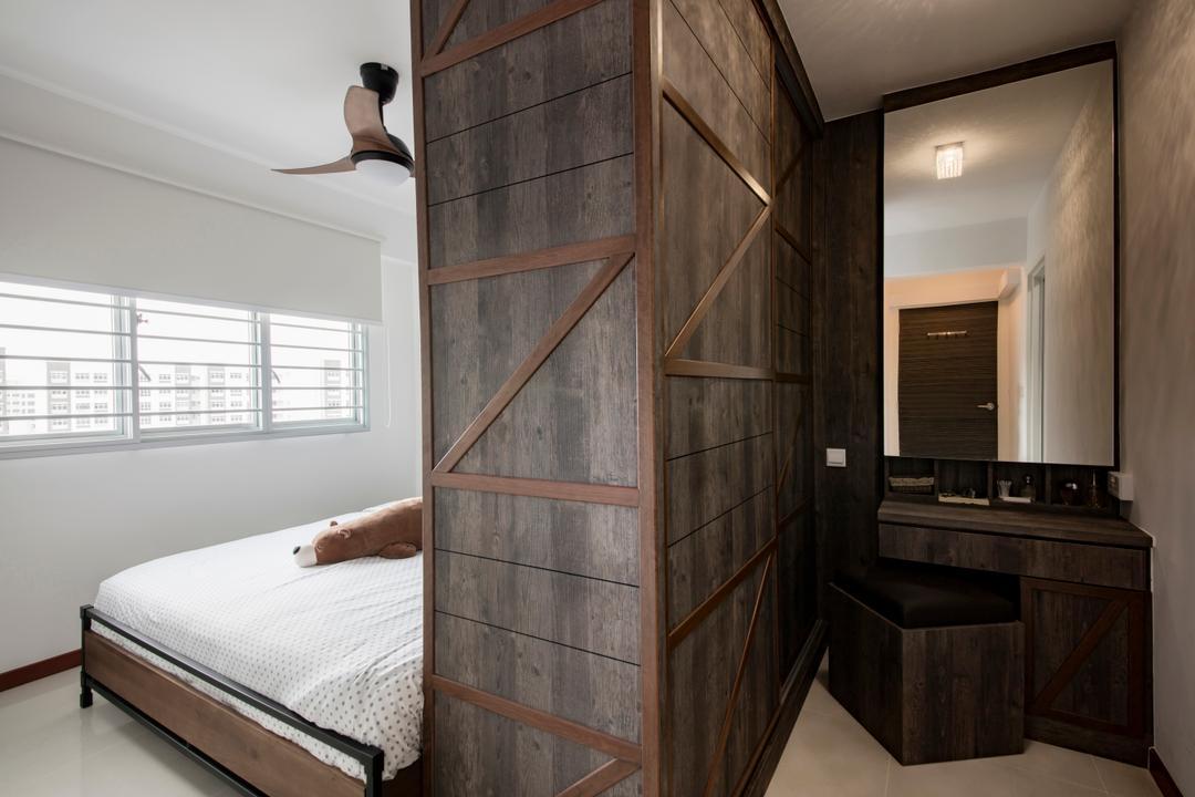 Yishun Street 51, Butler Interior, Industrial, Bedroom, HDB, Dresser, Vanity, Wardrobe, Wood Laminate, Crate, Molding