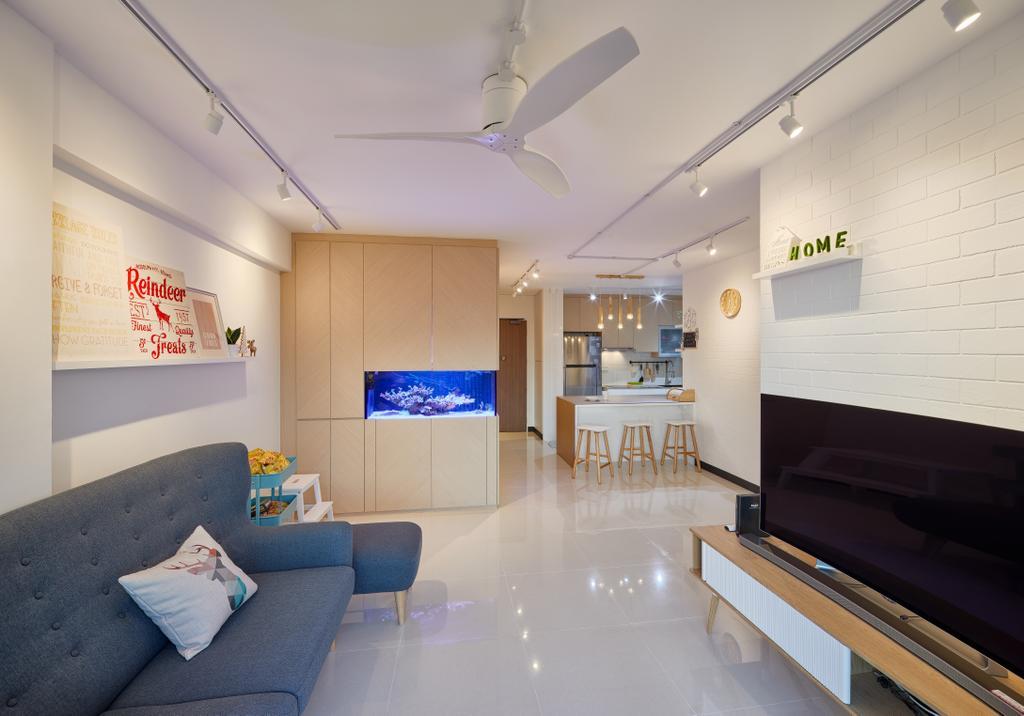 Scandinavian, HDB, Living Room, Skyline (Block 194), Interior Designer, Absolook Interior Design, Couch, Furniture