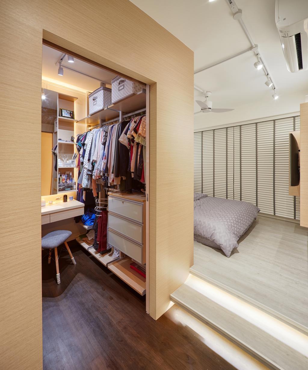 Scandinavian, HDB, Bedroom, Skyline (Block 194), Interior Designer, Absolook Interior Design, Apparel, Clothing, Indoors, Interior Design, Room