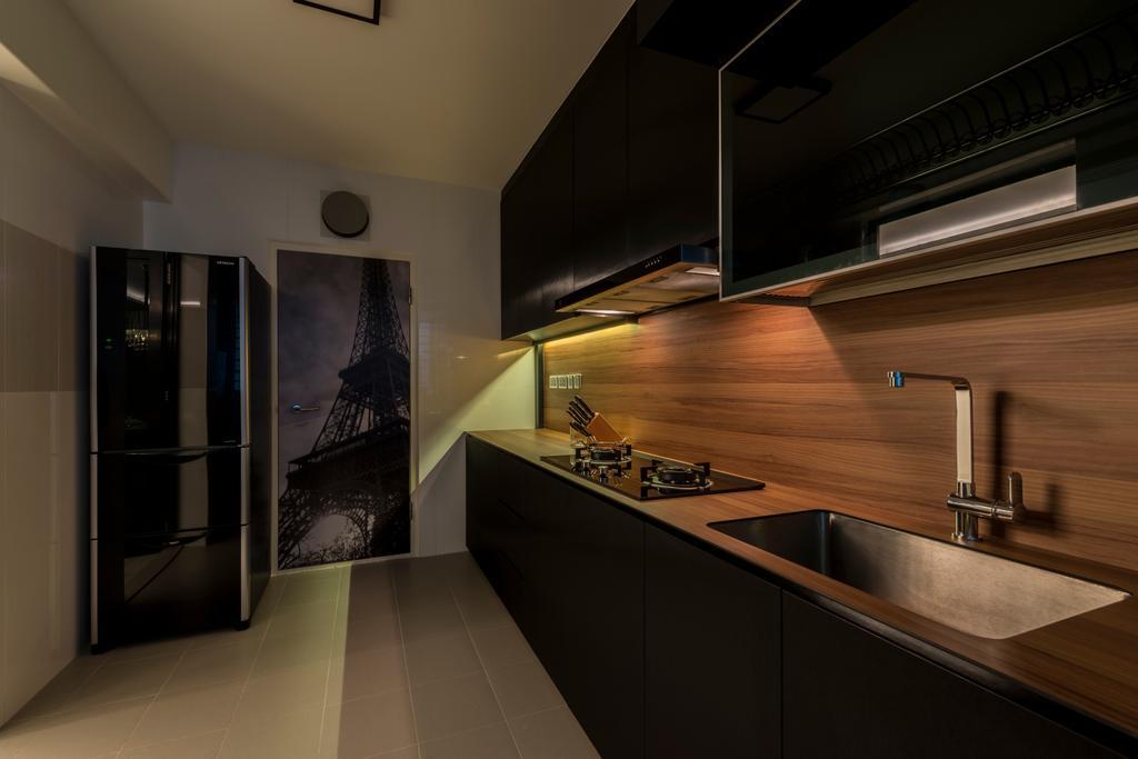 Modern, HDB, Kitchen, Compassvale Drive, Interior Designer, MET Interior, Scandinavian, Indoors, Interior Design, Lighting, Building, Housing, Loft, Appliance, Electrical Device, Oven