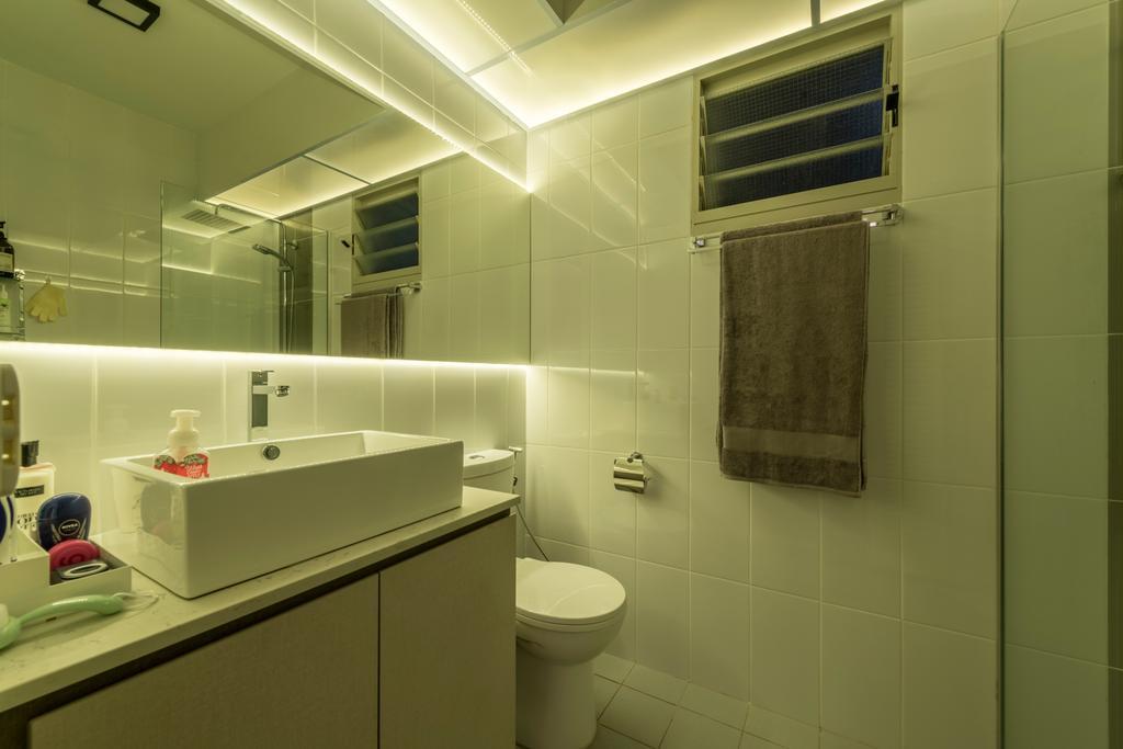 Modern, HDB, Bedroom, Compassvale Drive, Interior Designer, MET Interior, Scandinavian, Bathroom, Indoors, Interior Design, Room