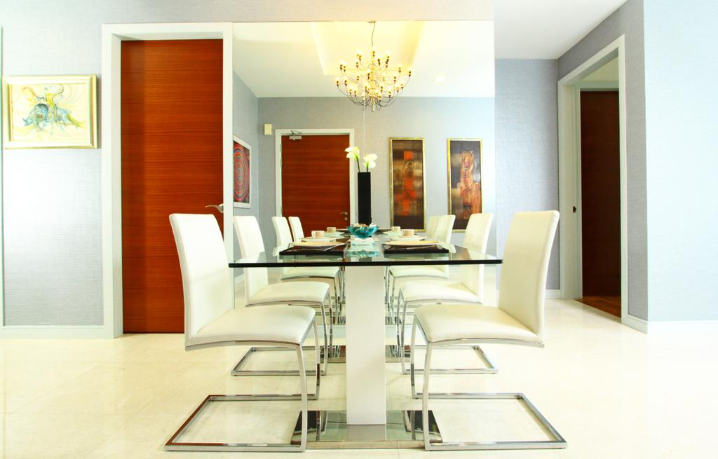 Modern, Condo, Dining Room, Marc Residence @ KLCC Unit A, Interior Designer, Quest Designs, Chair, Furniture, Indoors, Interior Design, Room, Dining Table, Table, Light Fixture, Lamp, Lampshade