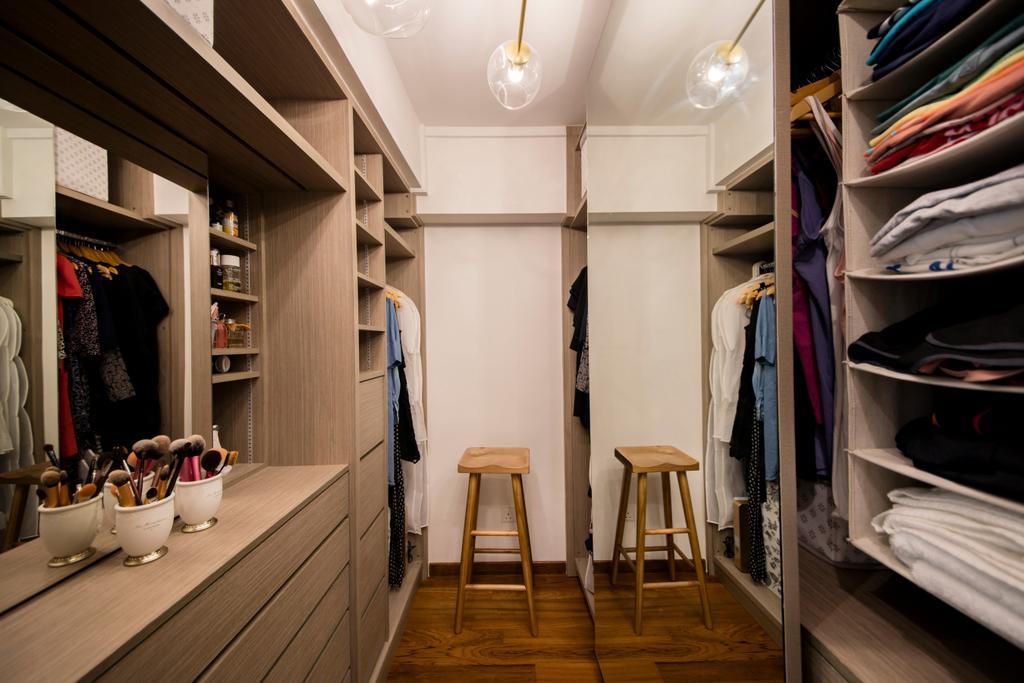 Scandinavian, HDB, Bedroom, Tanjong Pagar Plaza, Interior Designer, ELPIS Interior Design, Walk In Wardrobe, Wardrobe, Dresser, Dressing Room, Vanity, Bar Stool, Furniture, Closet