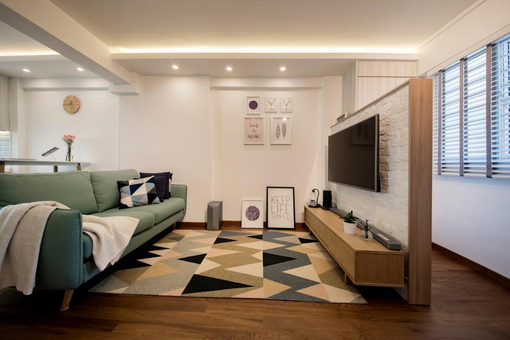 Scandinavian, HDB, Living Room, Tanjong Pagar Plaza, Interior Designer, ELPIS Interior Design, Flooring, Couch, Furniture, Indoors, Interior Design, Hardwood, Wood