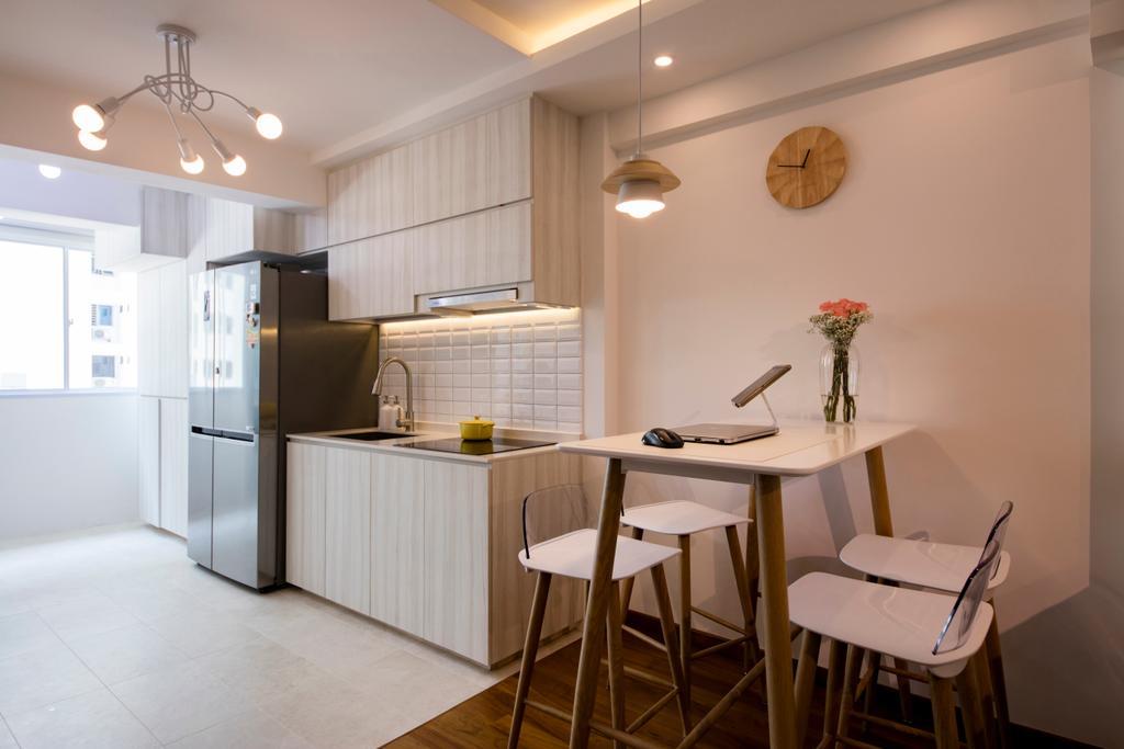 Scandinavian, HDB, Dining Room, Tanjong Pagar Plaza, Interior Designer, ELPIS Interior Design, Light Fixture, Dining Table, Furniture, Table, Chair, Sink, Indoors, Interior Design, Room