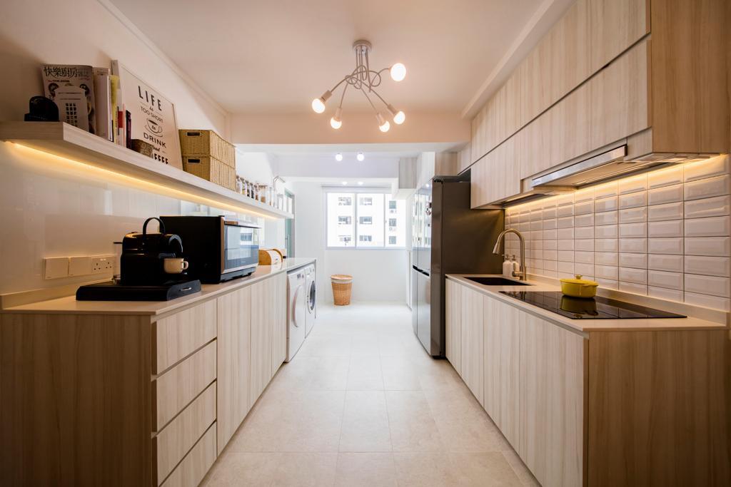 Scandinavian, HDB, Kitchen, Tanjong Pagar Plaza, Interior Designer, ELPIS Interior Design, Flooring, Indoors, Interior Design
