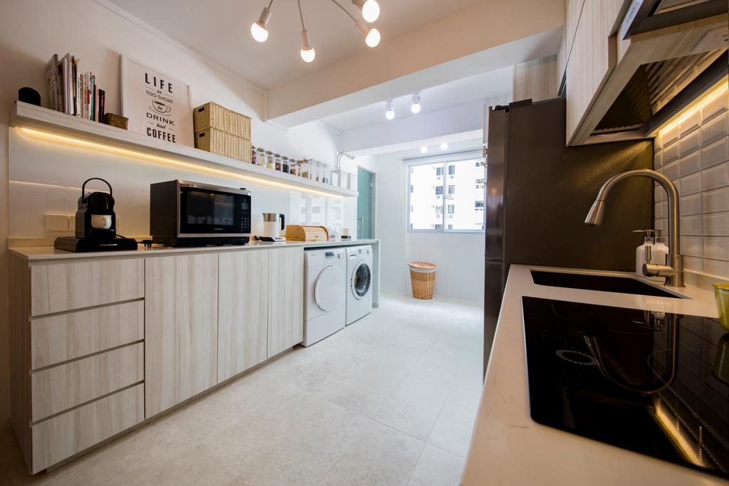 Scandinavian, HDB, Kitchen, Tanjong Pagar Plaza, Interior Designer, ELPIS Interior Design, Flooring